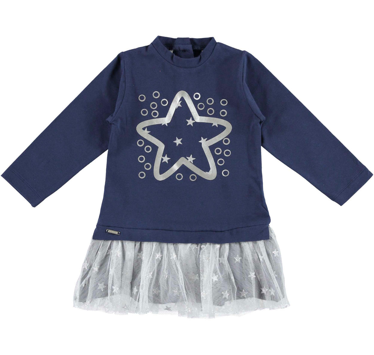 6adb790b0 Sarabanda dress with star and tulle skirt for girls from 6 months to 7  years NAVY