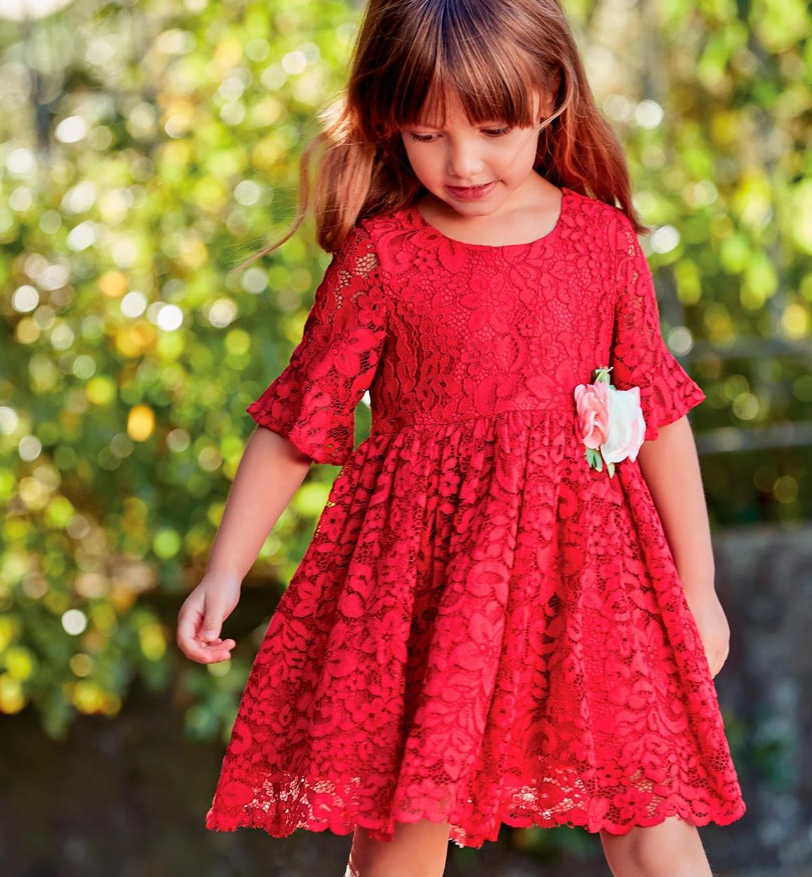 separation shoes b7576 79439 Abito in pizzo con fiori per bambina da 6 mesi a 7 anni Sarabanda