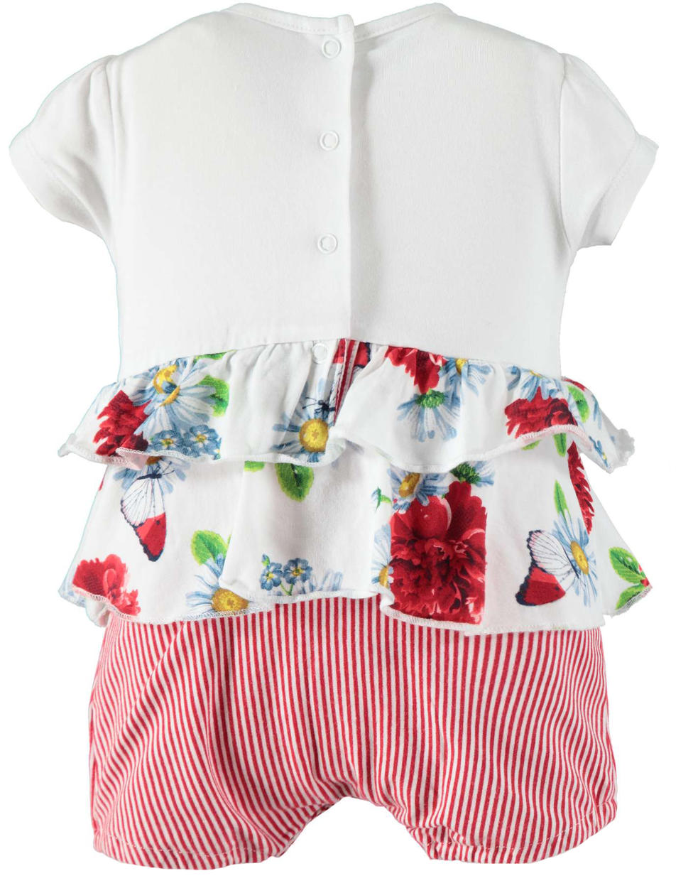 2a5c887b0 Cheerful and colourful baby girl cotton romper suit with butterflies ...