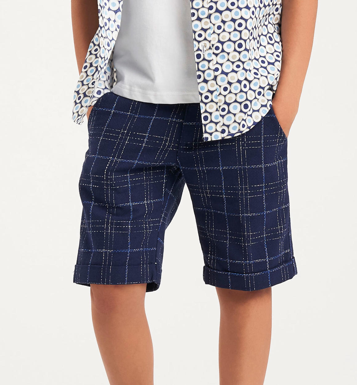500929b162 Boy s cotton blend checked Bermuda shorts with turn-up for boys from 6 to
