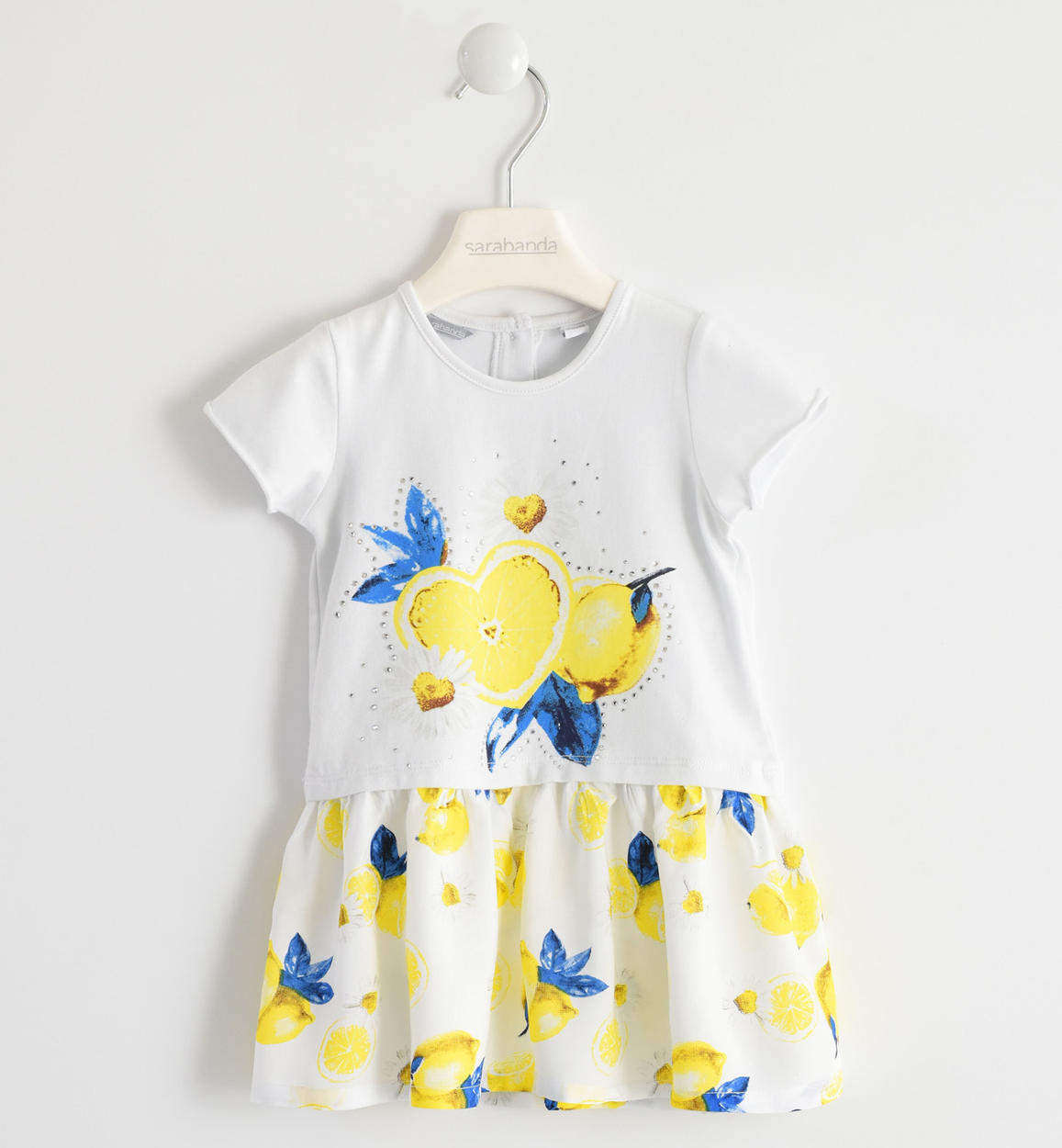 f8b6f48fd77 Short-sleeved dress with lemon pattern for baby girls from 6 months to 7  years Sarabanda