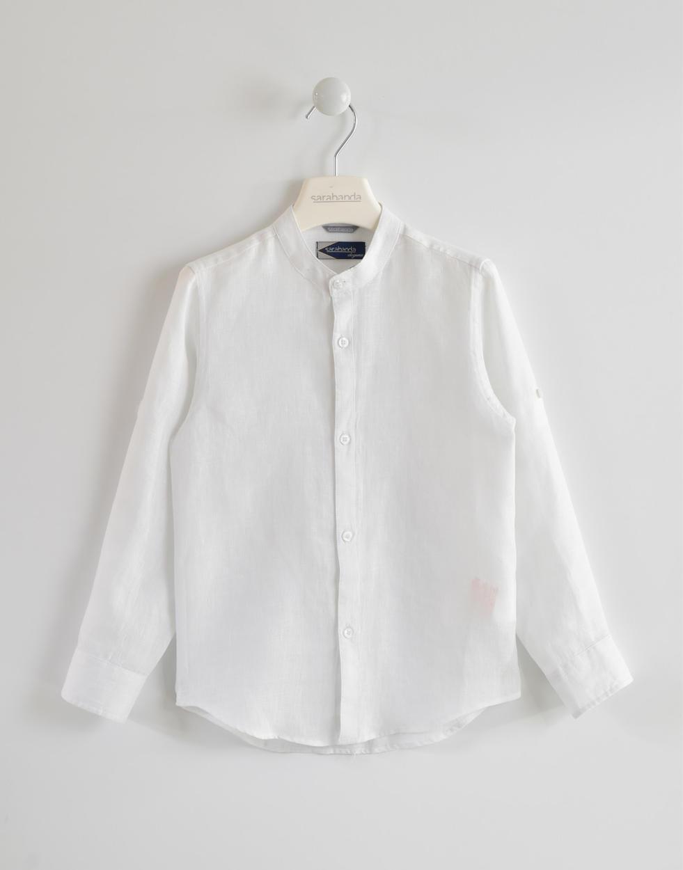 new style d05d3 63e58 Camicia 100% lino a manica lunga con colletto alla coreana per bambino da 6  a 16 anni Sarabanda