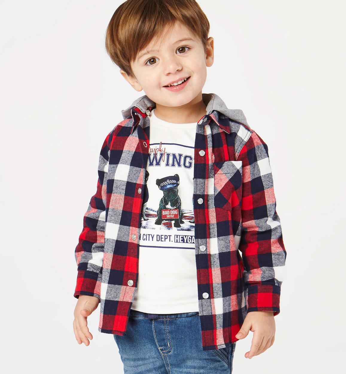 Camicia a quadri con cappuccio staccabile per bambino da 6 mesi a 7 anni  Sarabanda ROSSO bc02b19fc8d