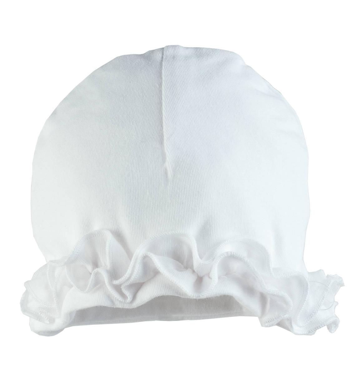 Cappellino modello cuffia per neonata da 0 a 24 mesi Minibanda BIANCO,0113