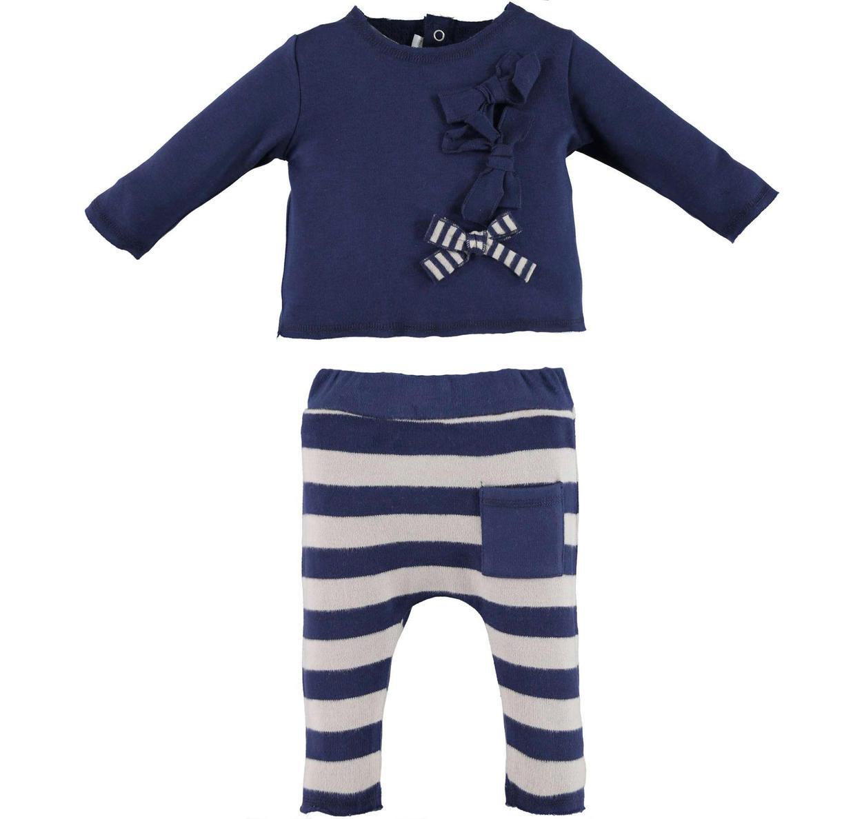 38143f819 Minibanda t-shirt with bows and striped trousers for babies from 0 ...