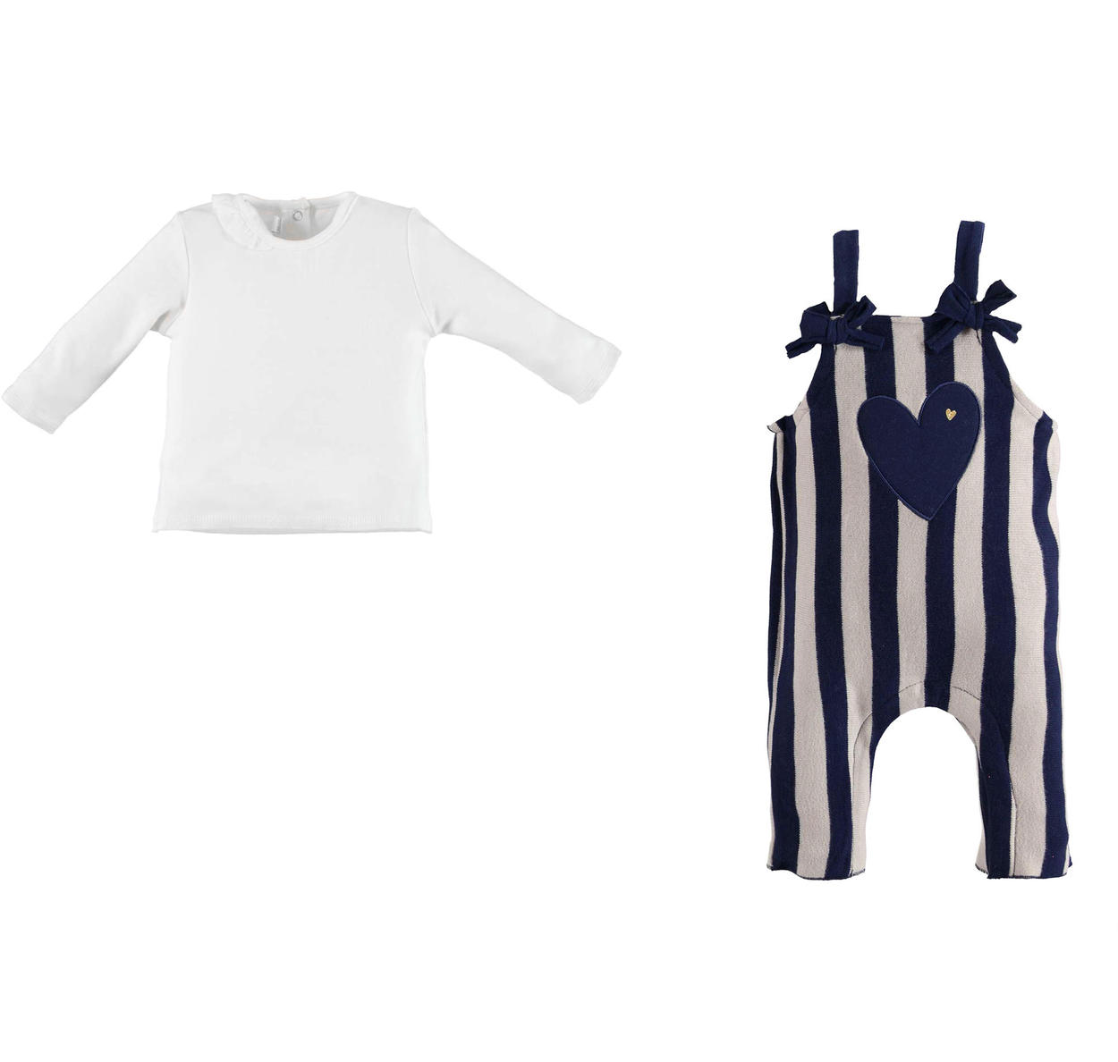 1bc0133bc Minibanda t-shirt and soft striped dungarees outfit for babies from ...