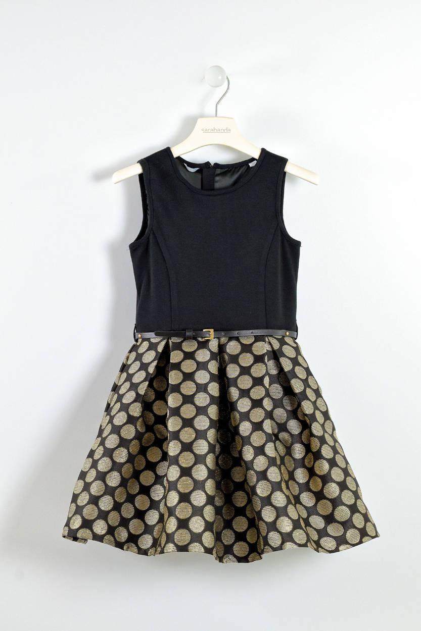 Elegante abito con gonna a pois lurex per bambina da 6 a 16 anni Sarabanda  NERO 04a6b82f8da
