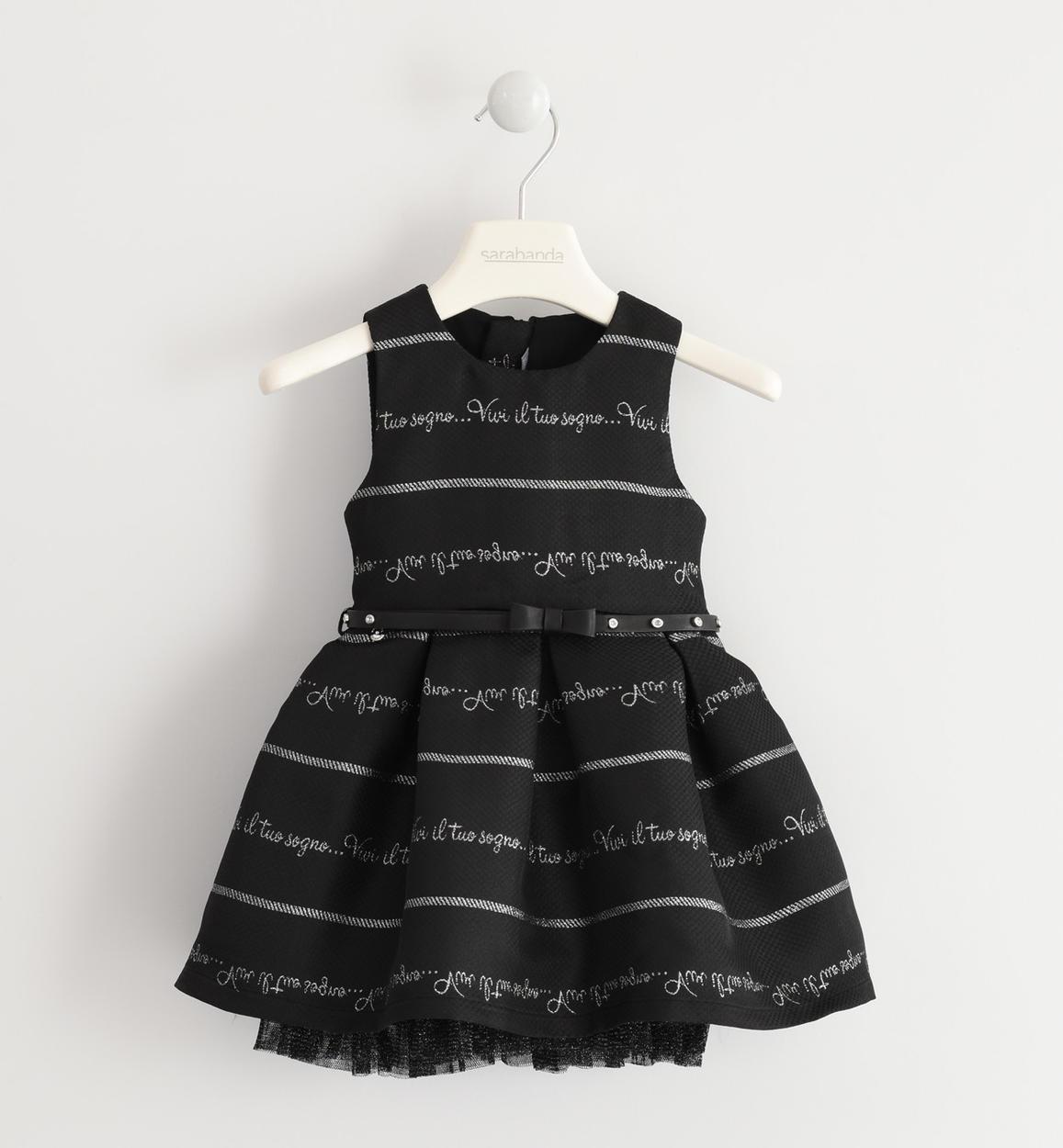 Vestiti Eleganti Bimba 7 Anni.Elegante Abito Smanicato Con Scritte Jacquard Per Bambina Da 6