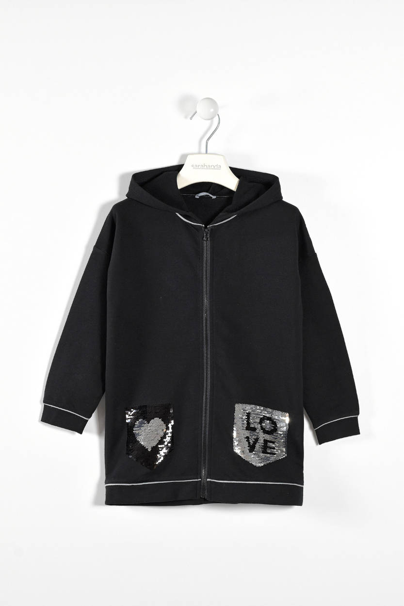 fe6425556dea9 Sarabanda zipped hoodie with reversible sequin pockets for girls ...