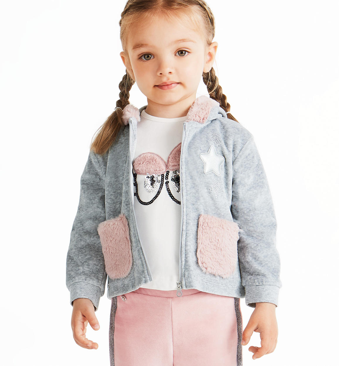 bd95896e8c Chenille sweatshirt with faux fur details for baby girls from 6 months to 7  years Sarabanda