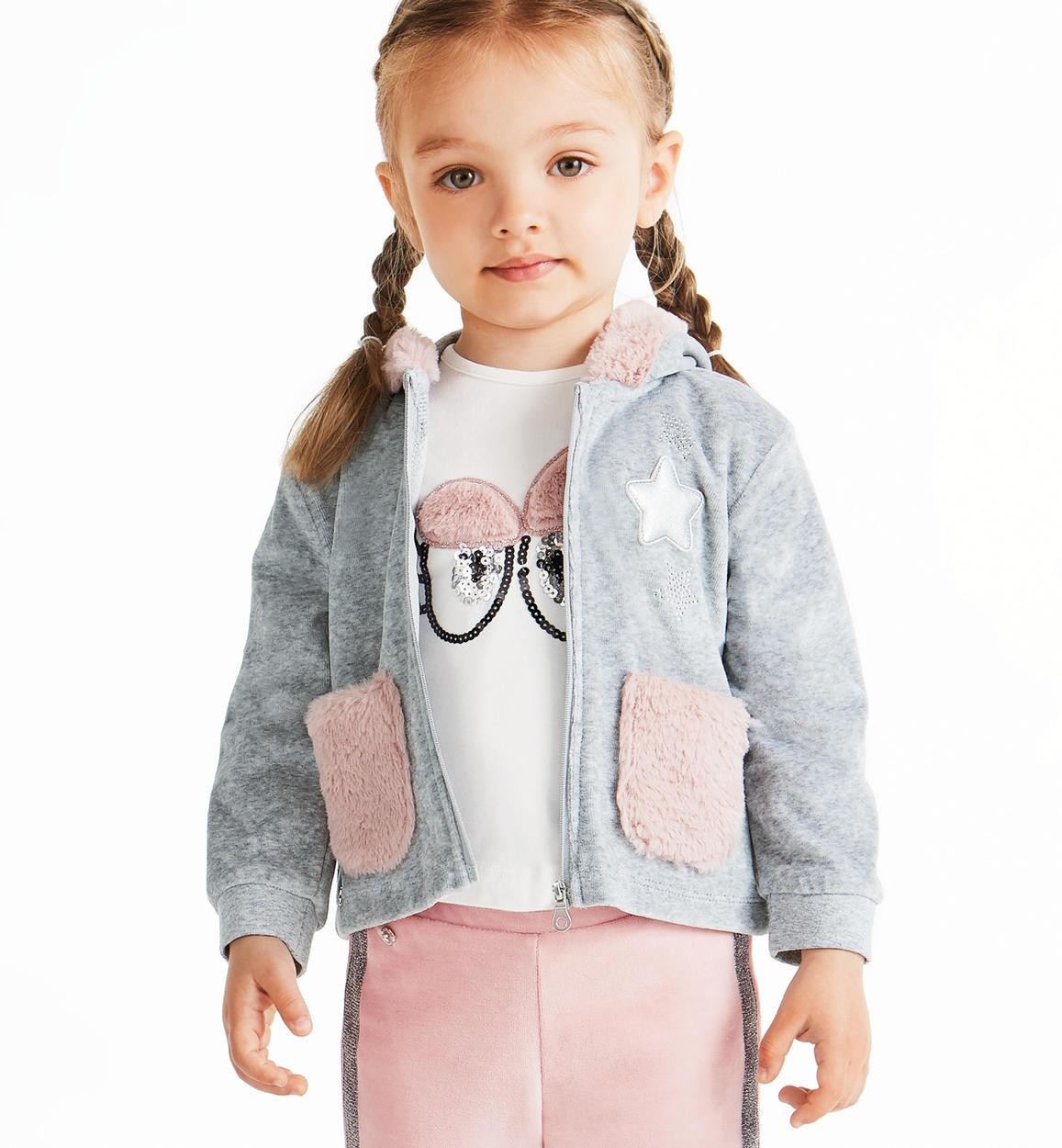 più foto d086d 8c90a Felpa in ciniglia con dettagli eco pelliccia per bambina da 6 mesi a 7 anni  Sarabanda