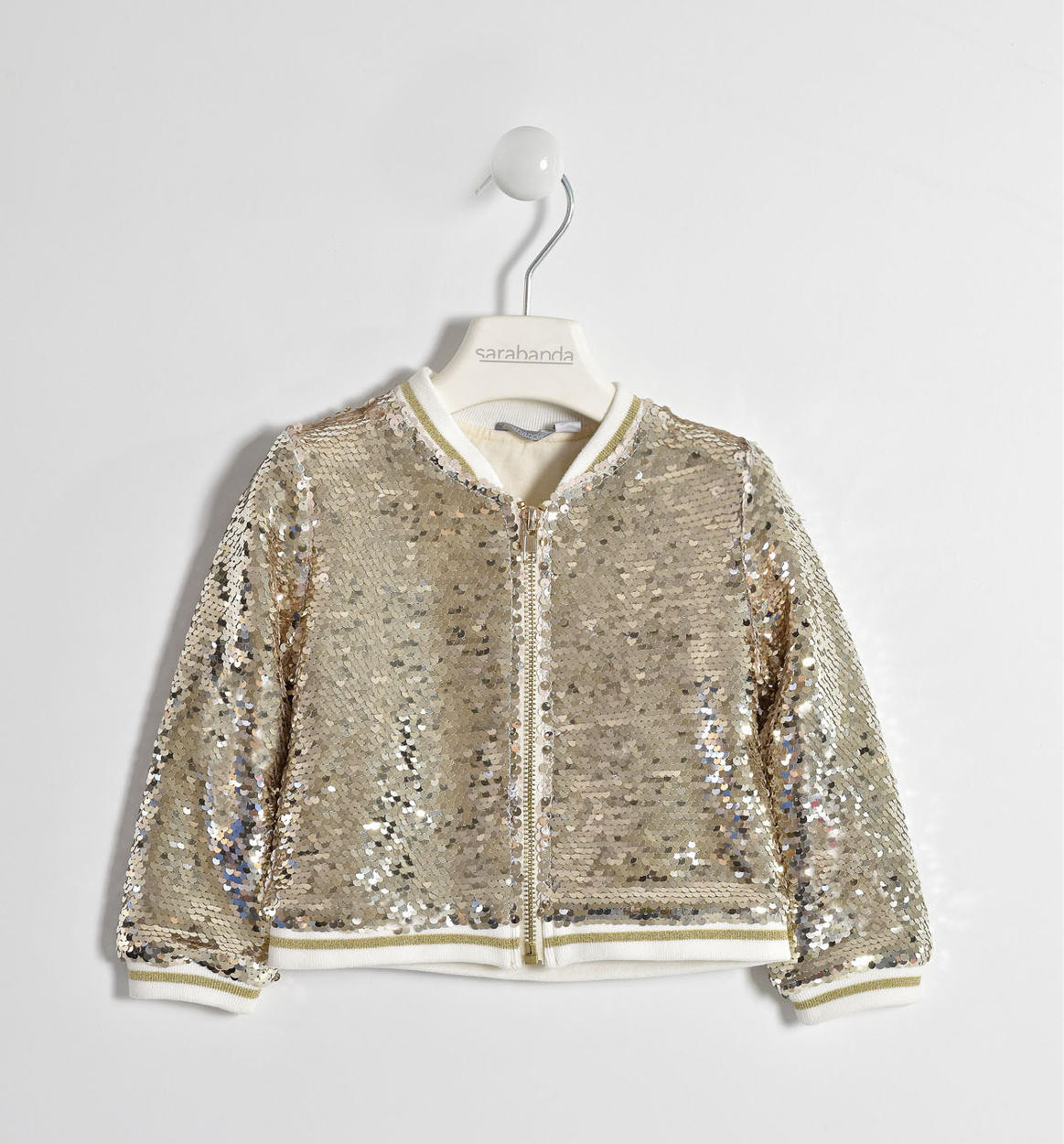 613d851ce Sequin bomber jacket for baby girls from 6 months to 7 years Sarabanda  ORO-1154