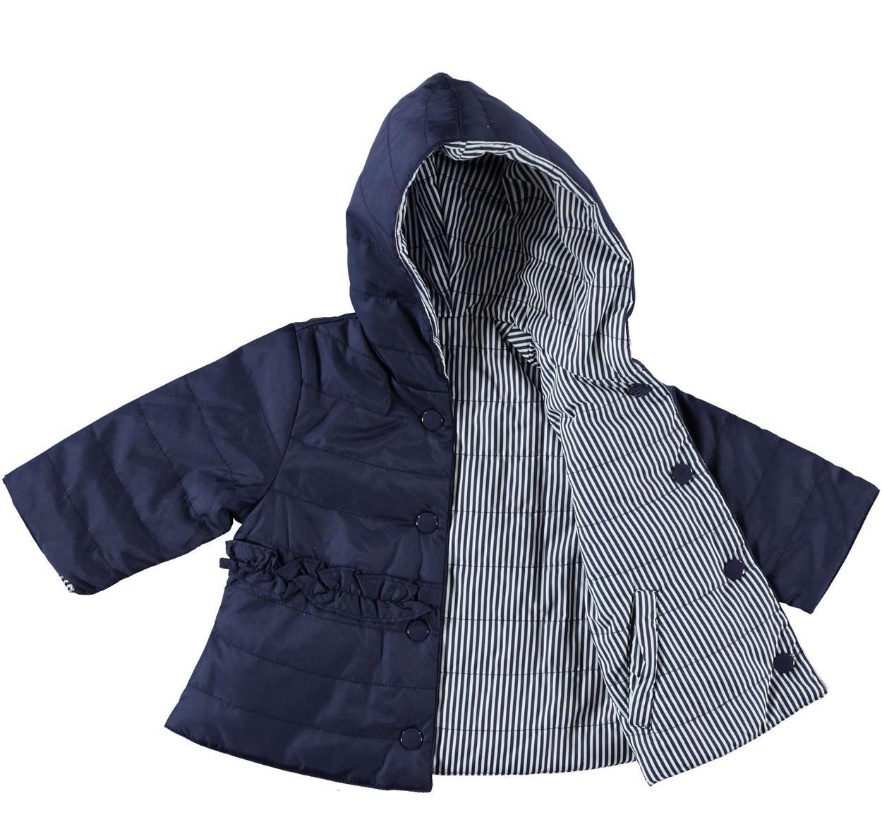 Giubbotto con cappuccio modello reversibile per neonata da 0 a 24 mesi  Minibanda NAVY-3854 0a36231065b