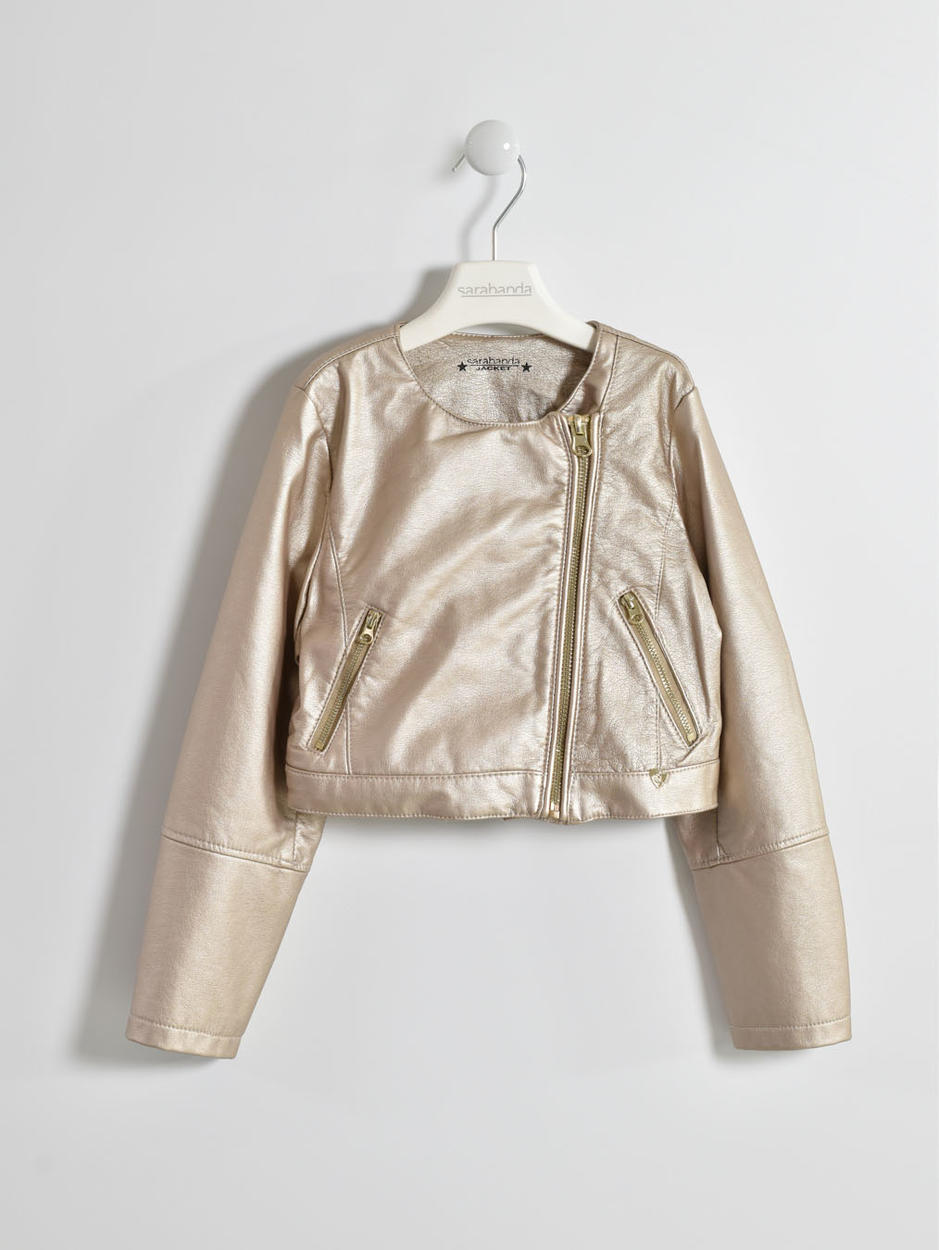 negozio online 07f6b 7c086 Giubbotto in ecopelle color oro opaco per bambina da 6 a 16 anni Sarabanda