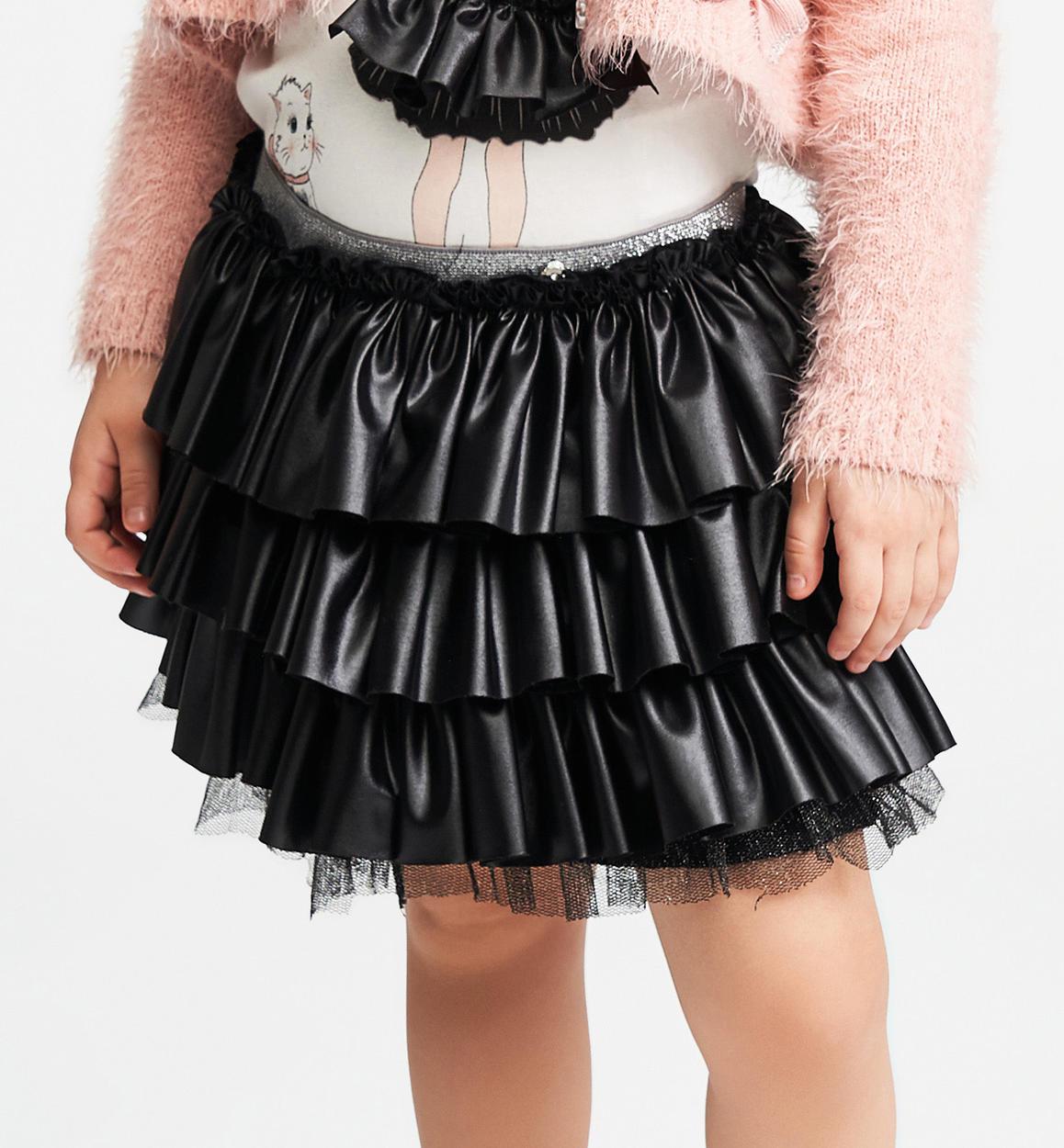 design senza tempo edde5 17936 Gonna in jersey effetto ecopelle per bambina da 6 mesi a 7 anni Sarabanda