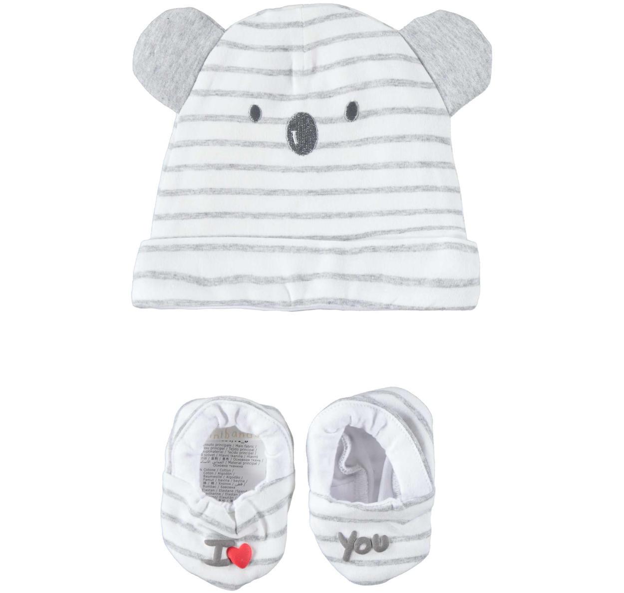 Tenero e comodo kit con cappellino e babbucce per neonati da 0 a 24 mesi  Minibanda 9708562d01e3