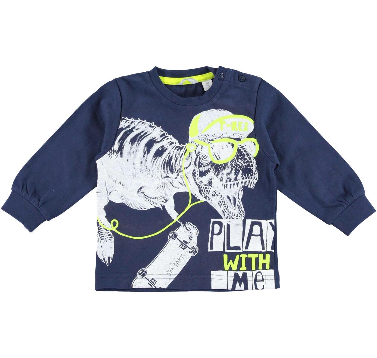b9b4756715 Maglietta girocollo con simpatico T-Rex per bambino da 6 mesi a 7 anni  Sarabanda