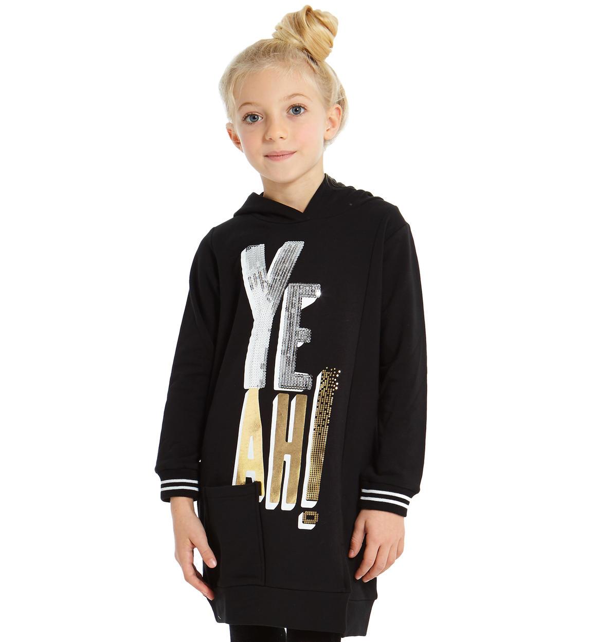e0cc73a6231d Mini abito in felpa con cappuccio per bambina da 6 a 16 anni Sarabanda NERO-