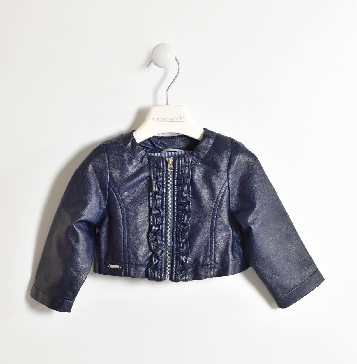 big sale 0617d b3c70 Giubbotto in ecopelle con rouches per bambina da 6 mesi a 7 anni Sarabanda