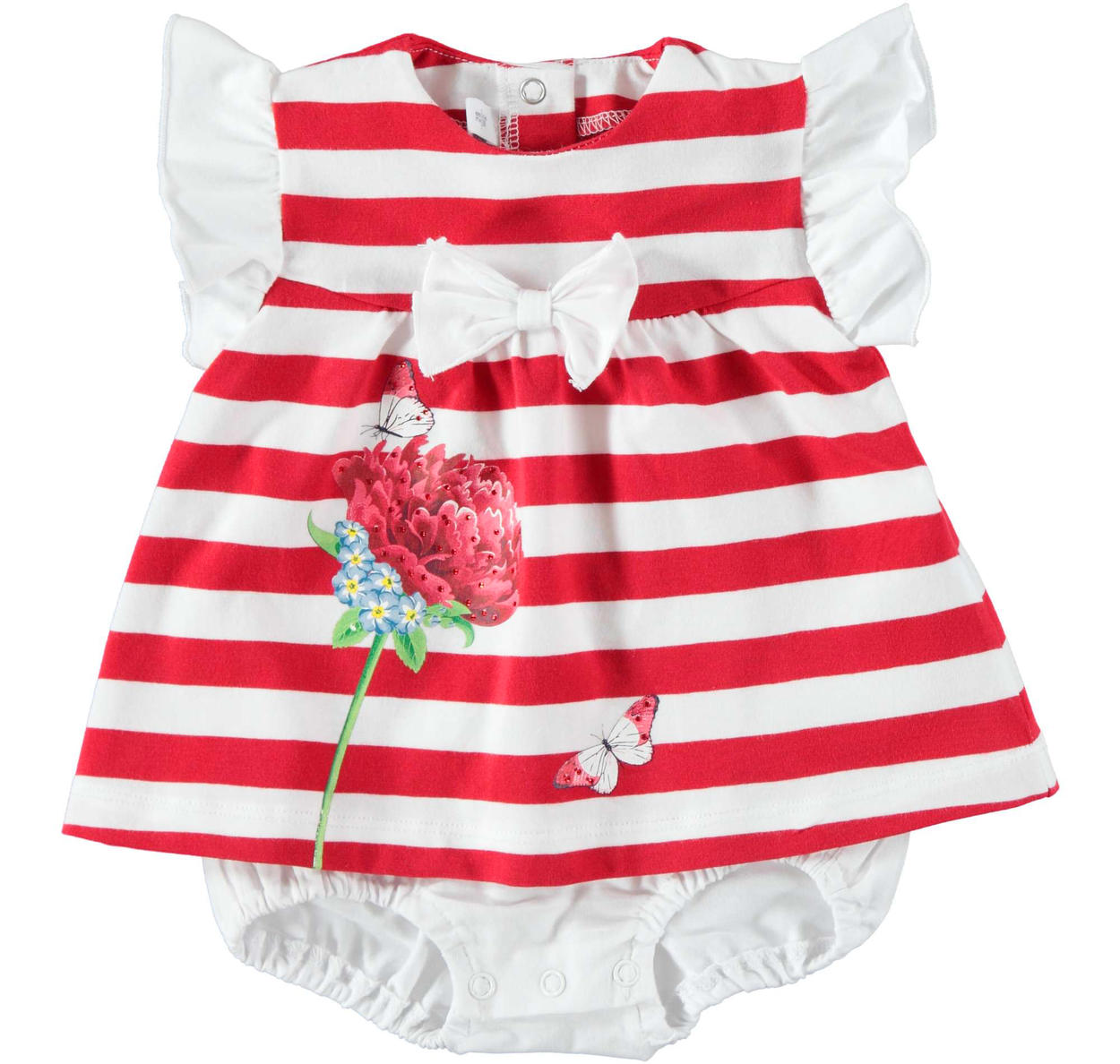 a488b7140 Baby girl cotton romper suit with bow and flower for newborn from 0 ...