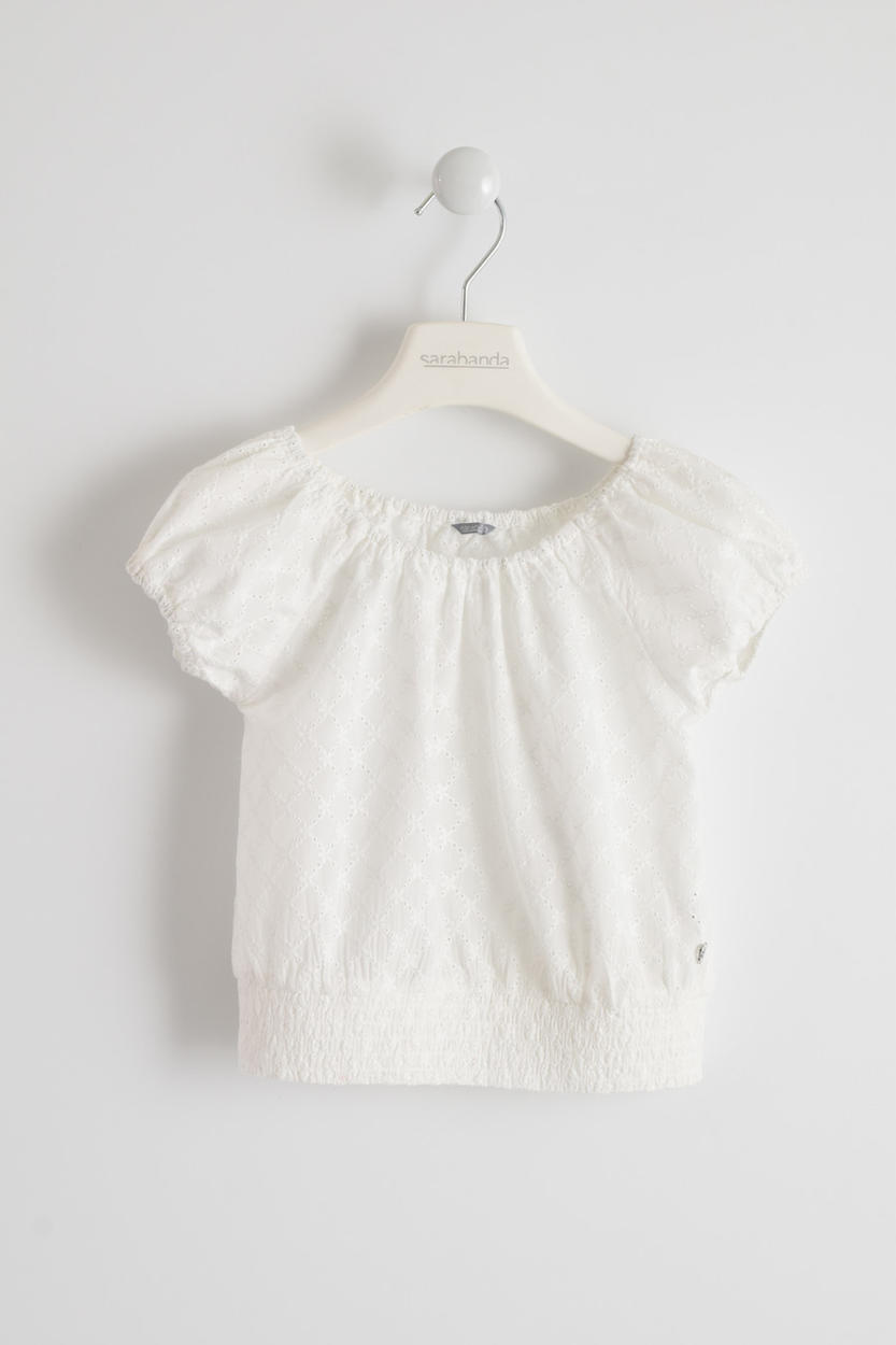 cc267a429 Girl s soft and comfy 100% cotton short sleeved top in broderie anglaise  for girls