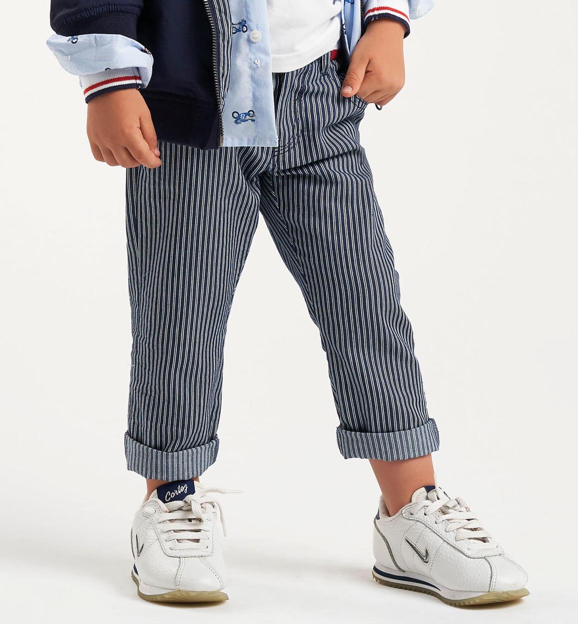 40ba003b9d3f Pantalone in cotone a righe per bambino da 6 mesi a 7 anni Sarabanda NAVY-