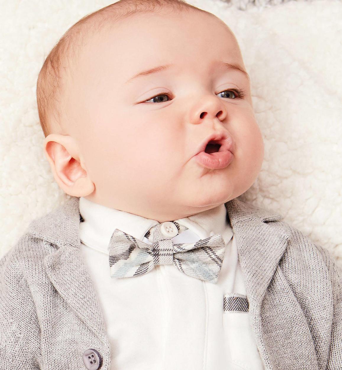 Papillon a quadri per neonato da 0 a 24 mesi Minibanda GRIGIO MELANGE-8992 ed40a5582b0