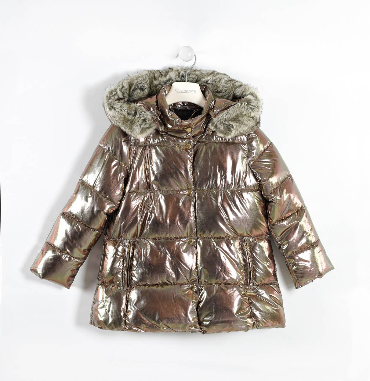 Sarabanda Metallic Fabric Padded Jacket With Polka Dot Satin Lining For Girls From 6 To 16