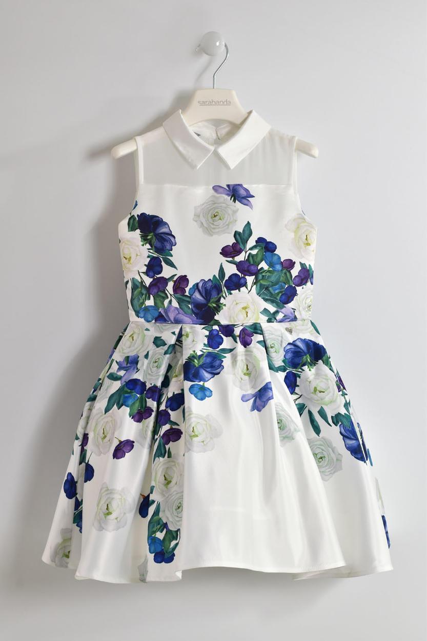 new product e86b9 8eba9 Raffinato ed elegante vestitino cerimonia stampa floreale per bambina da 6  a 16 anni Sarabanda
