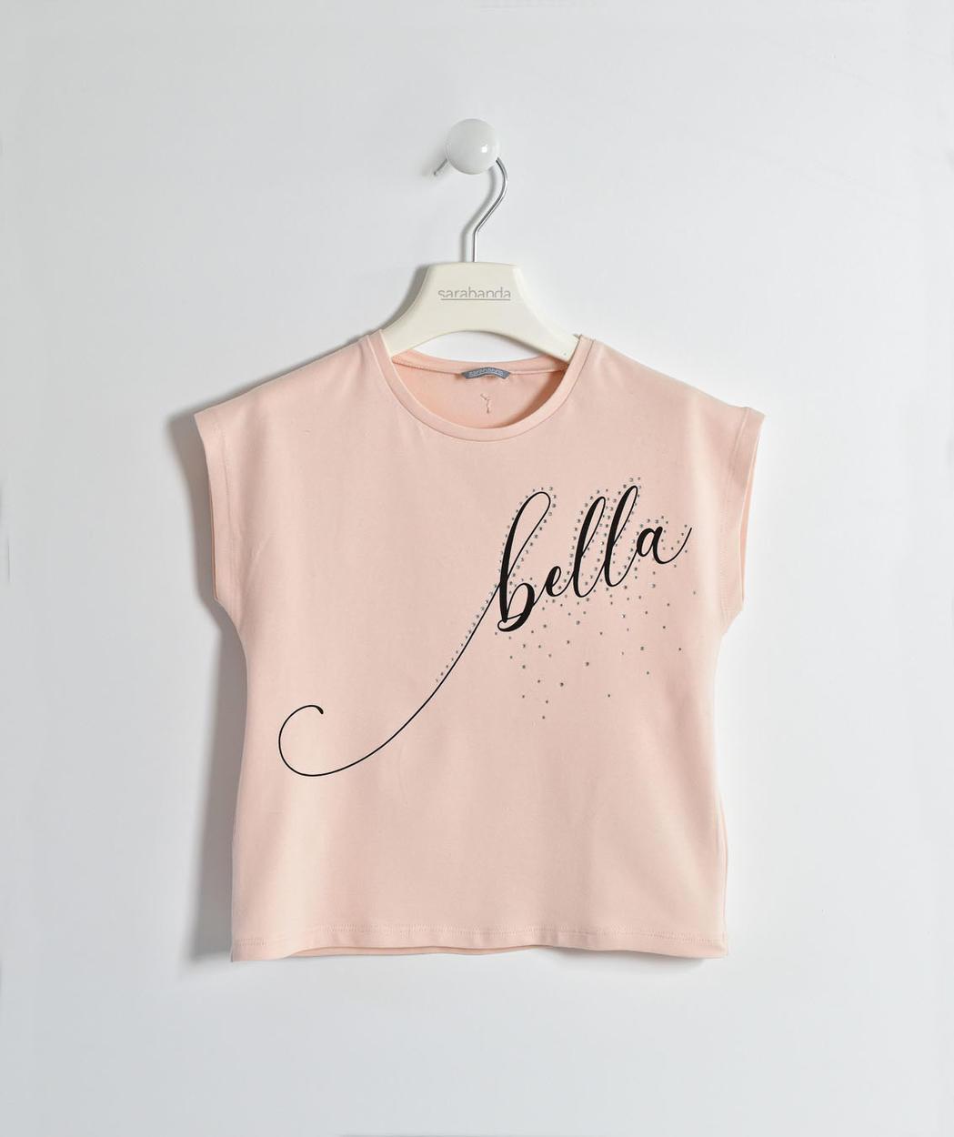40283252 Romantica e versatile t-shirt smanicata con strass per bambina da 6 a 16  anni