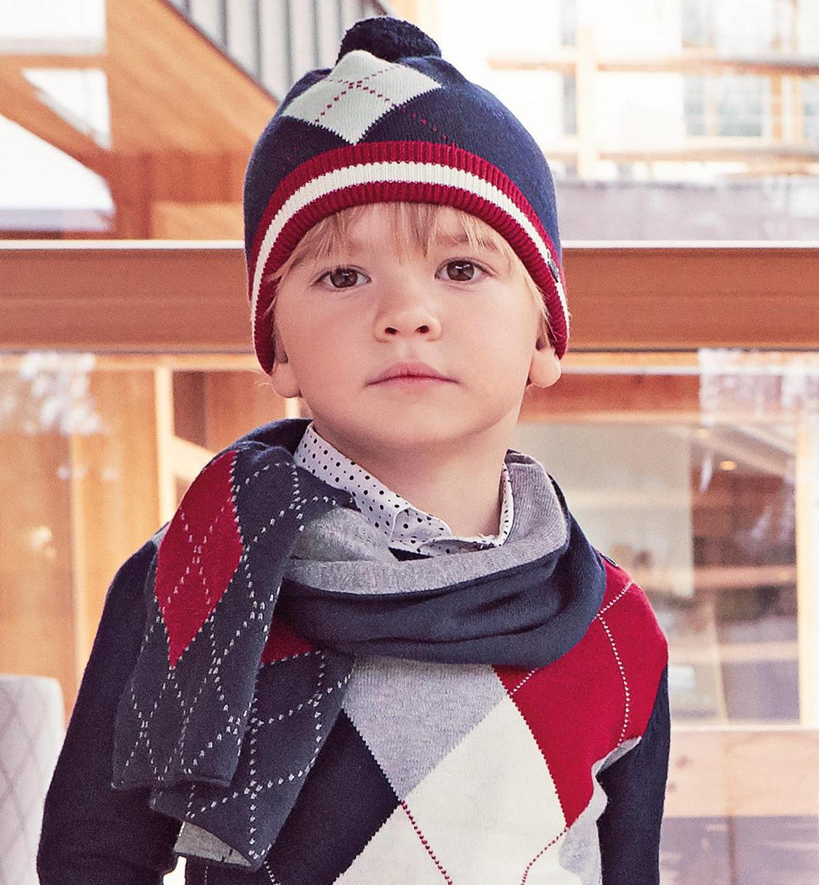 Sciarpa in tricot fantasia geometrica per bambino da 6 mesi a 7 anni  Sarabanda NAVY- 7a57a57adb0f