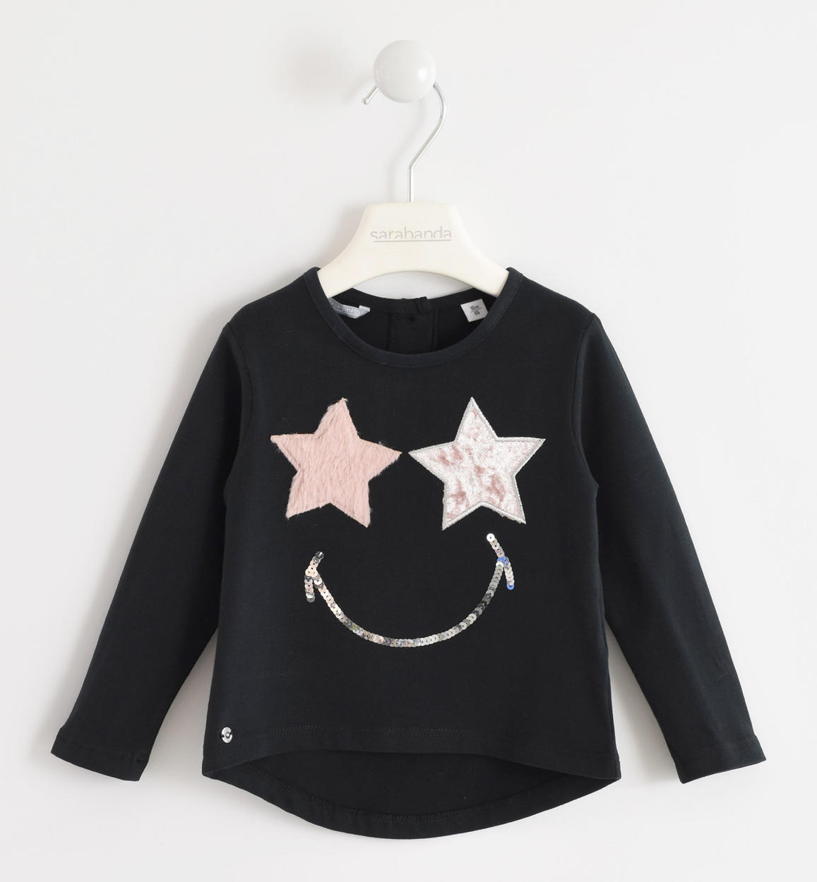 70594e8198 Nice crewneck t-shirt of warm 100% cotton jersey for baby girls from 6  months to 7 years Sarabanda