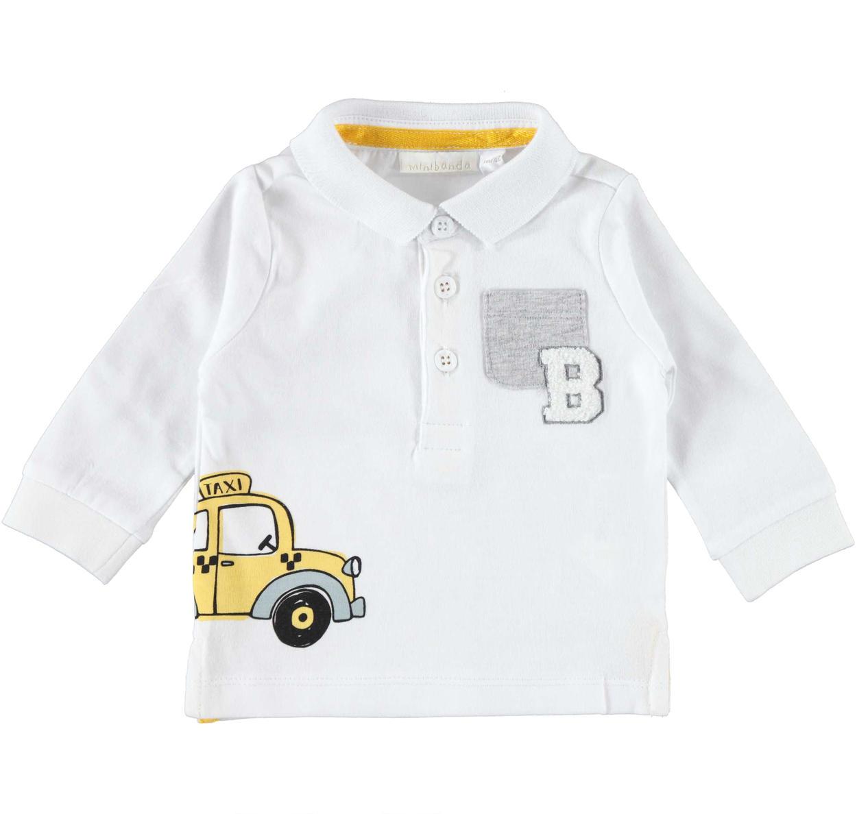 online retailer cad91 536dc Simpatica polo bianca a manica lunga 100% cotone con taschino per neonato  da 0 a 24 mesi Minibanda