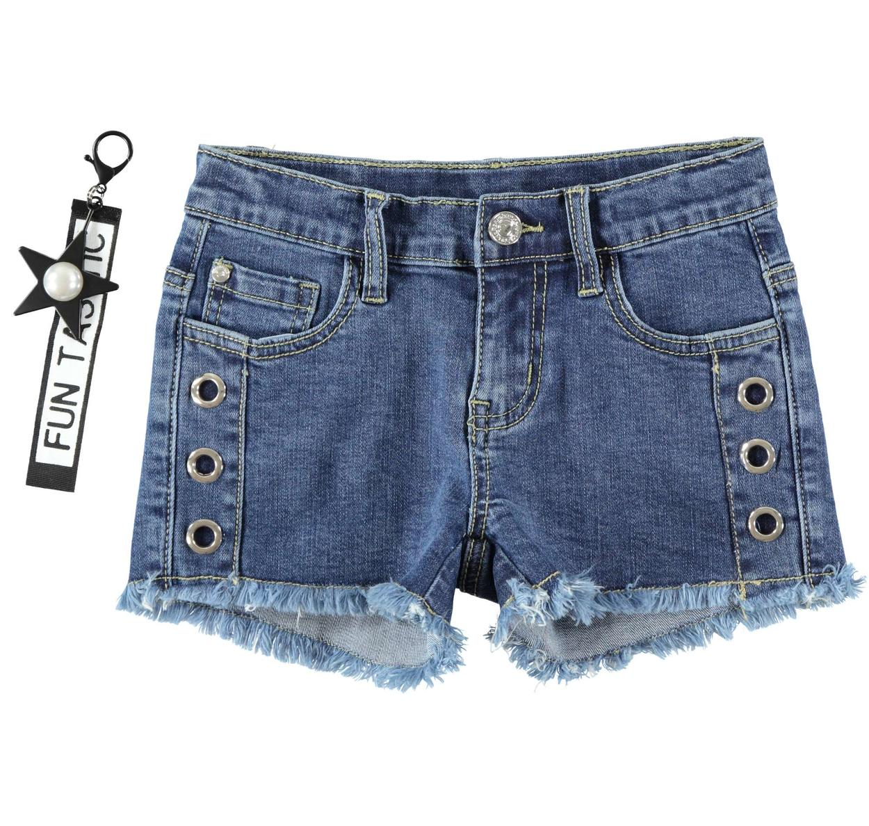 5726daed Girl s bold fringed denim shorts in stretch cotton for girls from 6 to 16  years Sarabanda