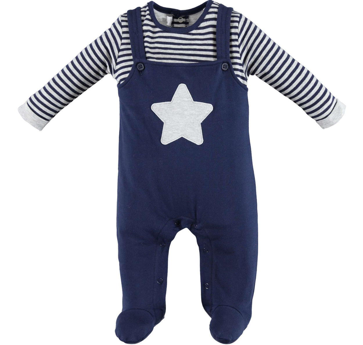59916ffb7 Minibanda fleece romper with faux dungarees for babies from 0 to 24 ...