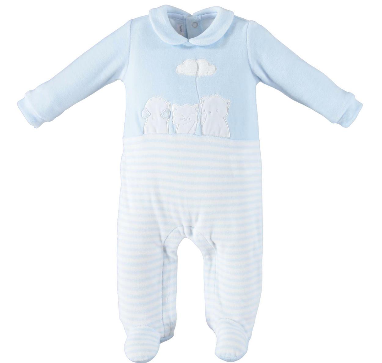 seleziona per il meglio aspetto dettagliato vari tipi di Tutina intera modello unisex in ciniglia per neonati da 0 a 24 mesi  Minibanda