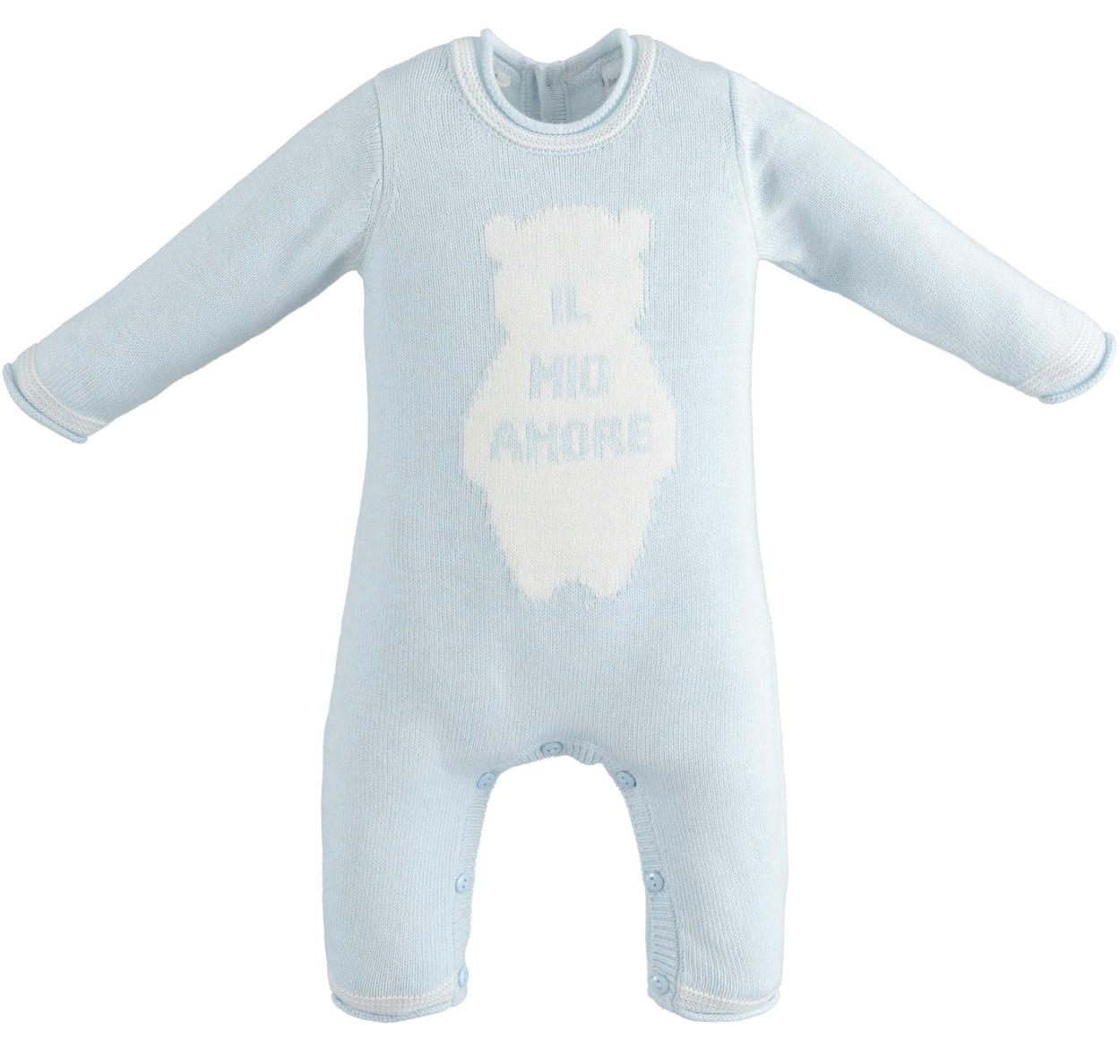 45b7c9a9e9275 Unisex model newborn baby onesie without foot made of cotton and cashmere  blend for babies from 0 to 18 months Minibanda
