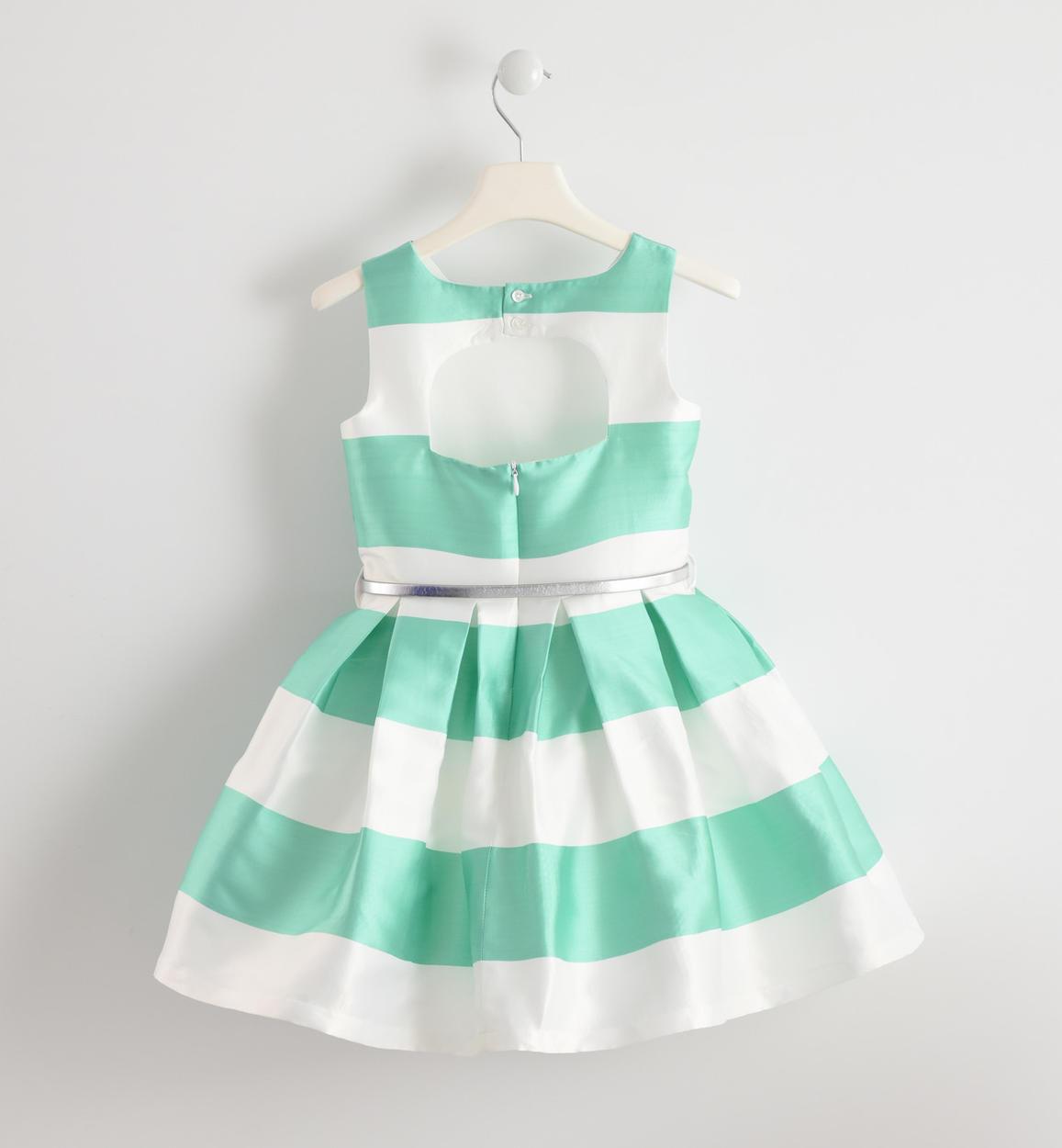 2a4378a87e Vestito cerimonia color block in raso per bambina da 6 a 16 anni Sarabanda  VERDE-