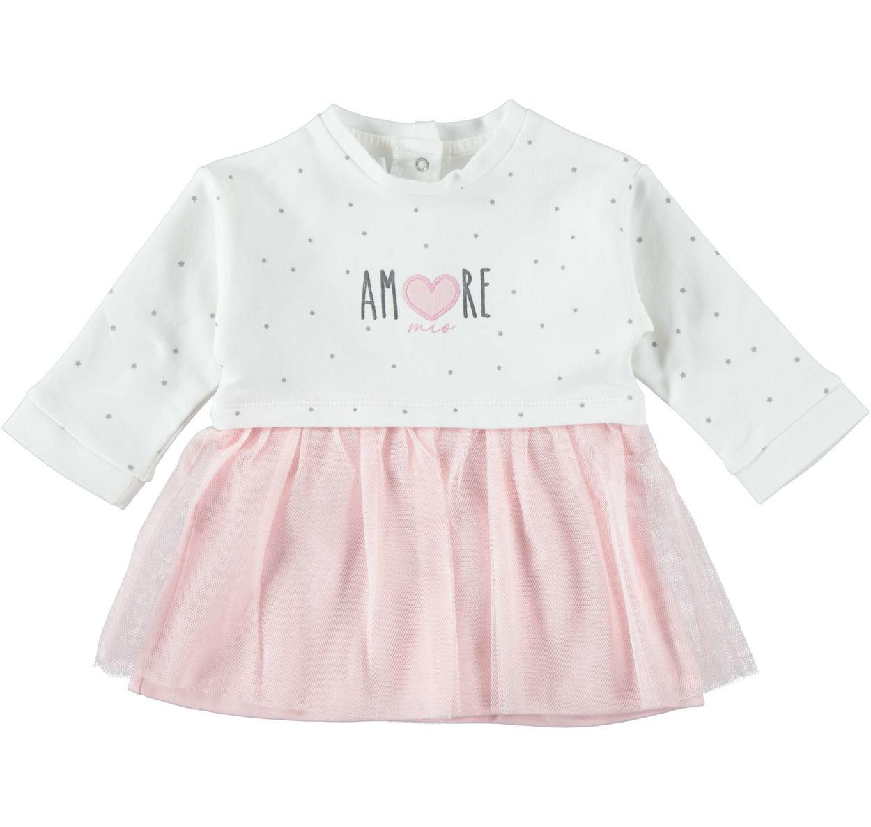 godere di un prezzo economico retrò stili di moda Vestitino a manica lunga in cotone con gonna in tulle per neonata da 0 a 24  mesi Minibanda