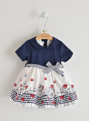 100% cotton baby girl dress with skirt with flowers BLUE