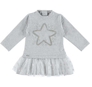 Dress with star and tulle skirt GREY