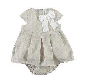 Linen dress with culotte nappy cover BEIGE