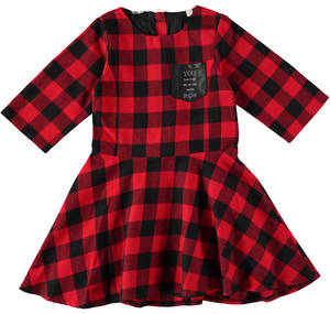 100% checked cotton dress RED