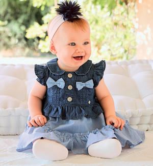 100% cotton mix fabric baby girl dress BLUE