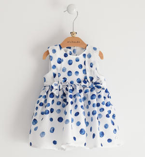 100% cotton satin baby girl dress with watercolour effect print WHITE