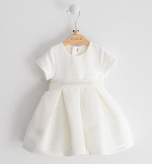 Ottoman solid colour short-sleeved baby girl dress CREAM