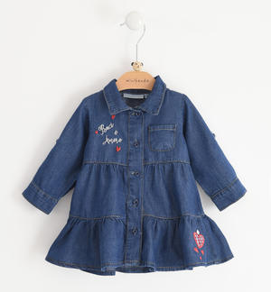 Long-sleeved baby girl dress of 100% cotton light denim BLUE