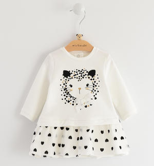 Long-sleeved fleece dress for baby girl with organza flounce CREAM