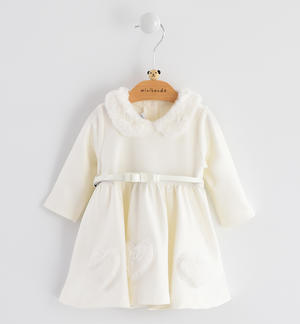 Newborn girl long sleeve dress for the first Christmas CREAM