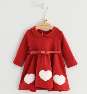 Newborn girl long sleeve dress for the first Christmas RED
